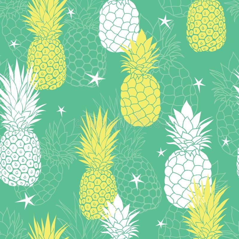 Dirigez les ananas verts et jaunes en bon état et tenez le premier rôle le fond sans couture tropical de modèle d'été Grand comme illustration de vecteur