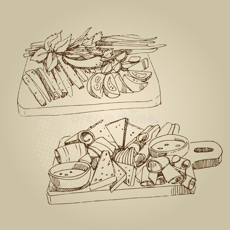 Dirigez les apéritifs froids de croquis tiré par la main de nourriture, concombres, tomates, graisse, verts, épices images libres de droits