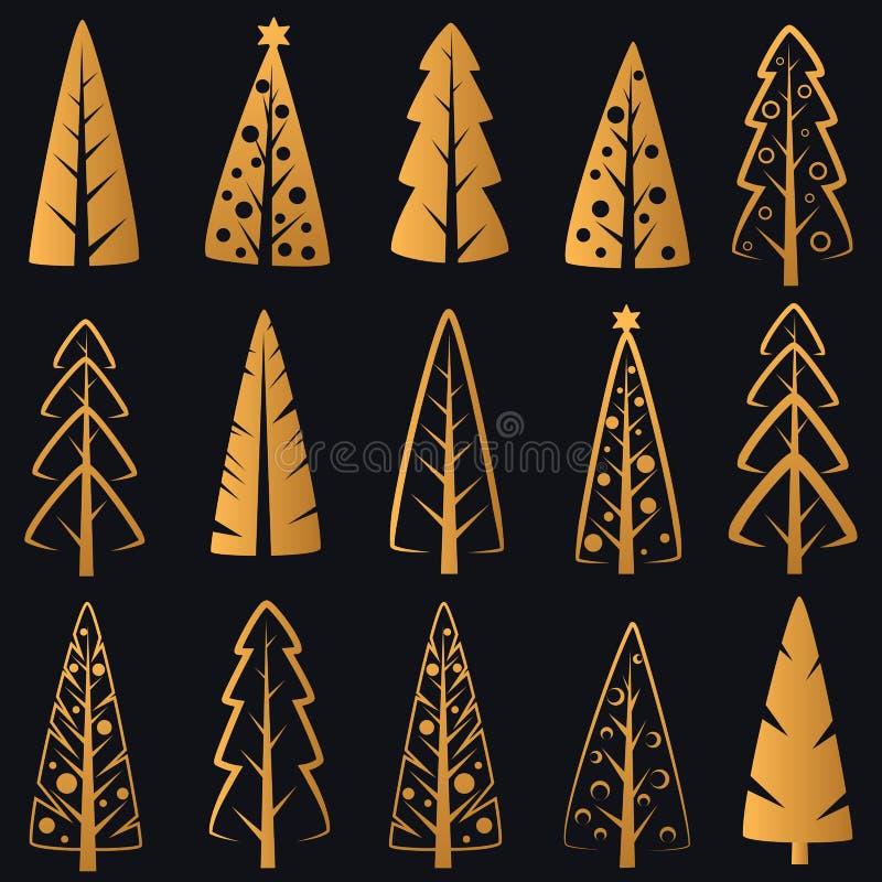 Dirigez les arbres de Noël d'or décoratifs riches de luxe sur le fond bleu-foncé illustration stock