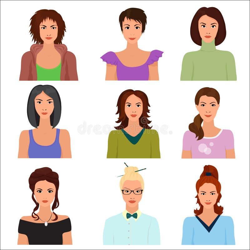 Dirigez les avatars féminins de visages de caractère de femme dans différents vêtements et coiffures illustration libre de droits