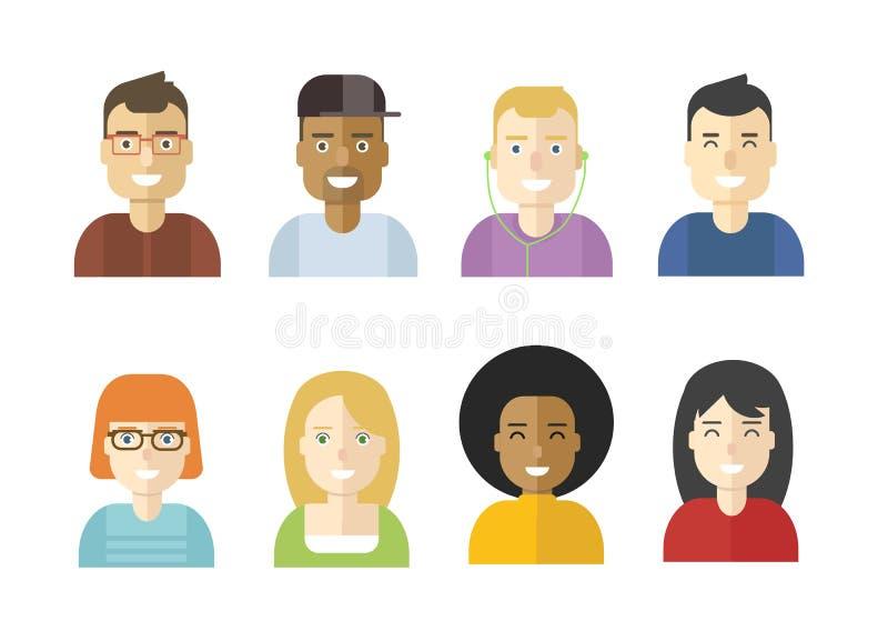 Dirigez les avatars plats des jeunes de conception d'isolement sur le backgr blanc illustration libre de droits