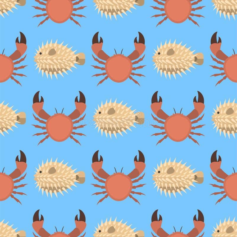 Dirigez les bêtes tropicales aquatiques de modèle de crabe de créatures d'animaux de mer d'océan d'aquarium de l'eau sous-marine  illustration libre de droits
