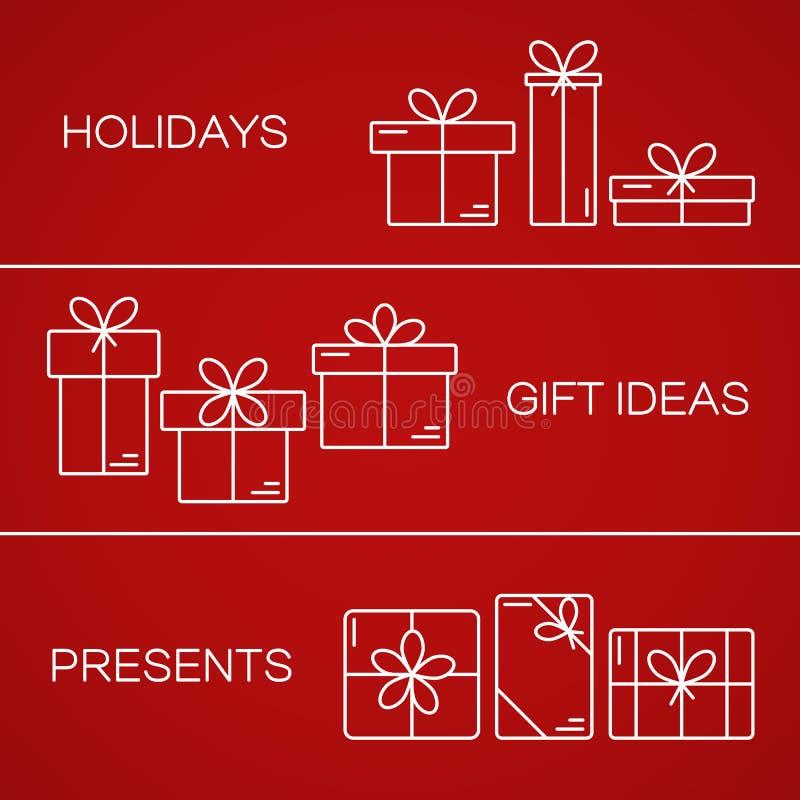 Dirigez les bannières avec la ligne mince icônes des boîte-cadeau illustration libre de droits