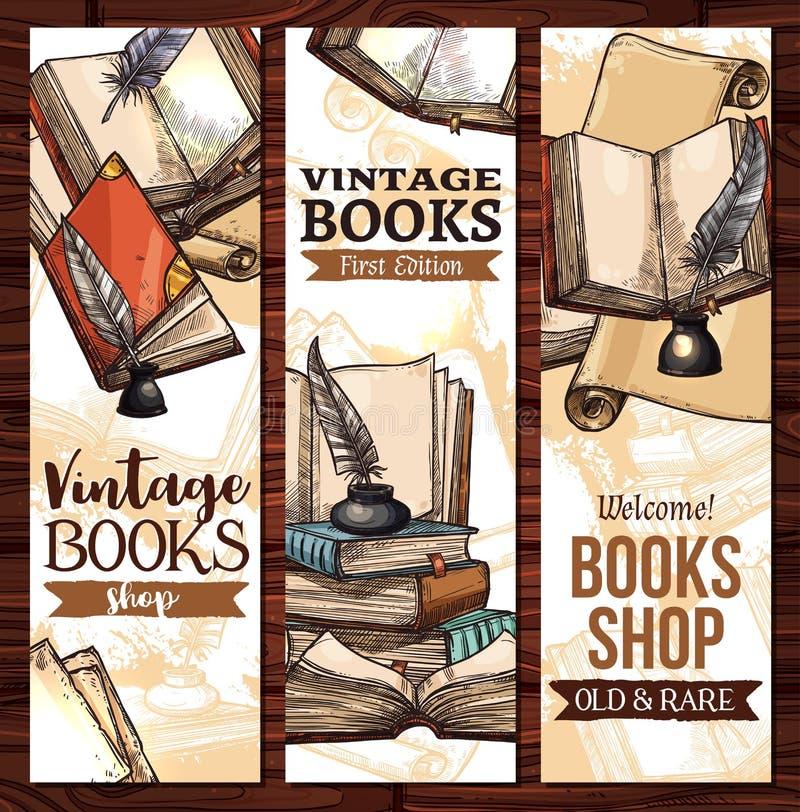 Dirigez les bannières de croquis pour la vieille bibliothèque de livres de vintage illustration libre de droits