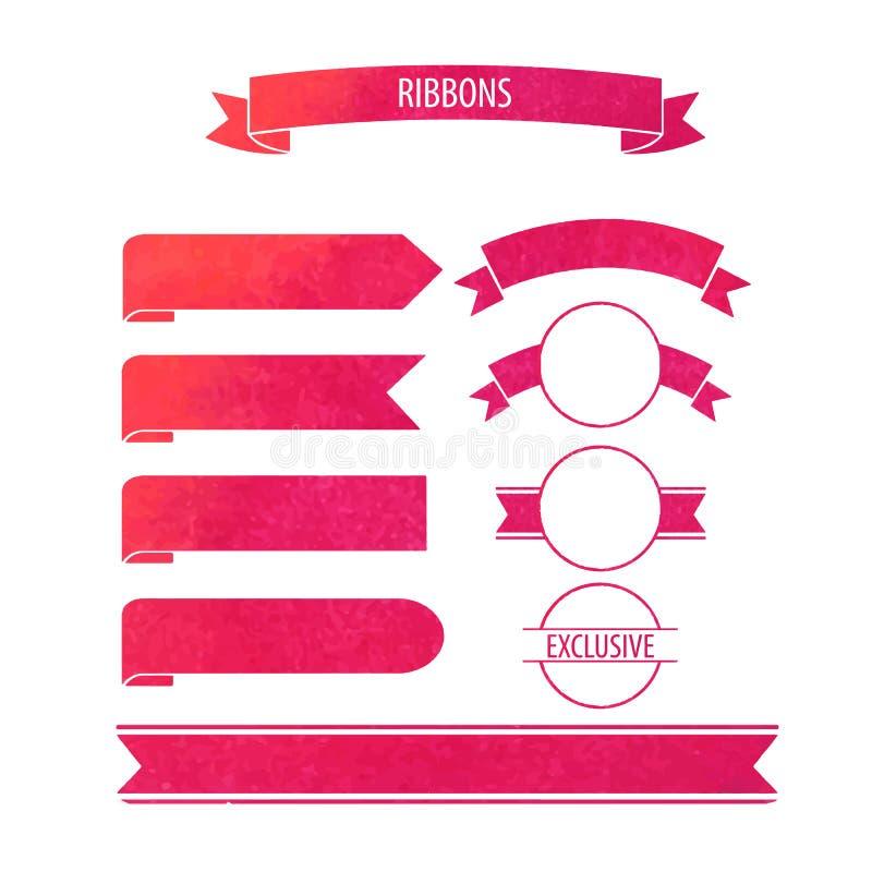 Dirigez les bannières de rubans d'aquarelle avec le cercle de tache de vin en rouge illustration stock