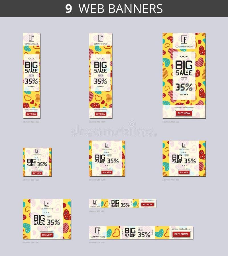 Dirigez les bannières de Web de la publicité avec la grande vente et avec des coeurs de modèle sur le champ jaune illustration de vecteur
