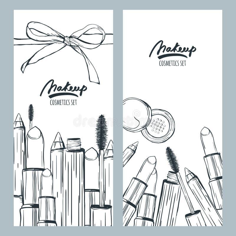 Dirigez les bannières ou les insectes avec l'illustration tirée par la main des cosmétiques de maquillage illustration de vecteur