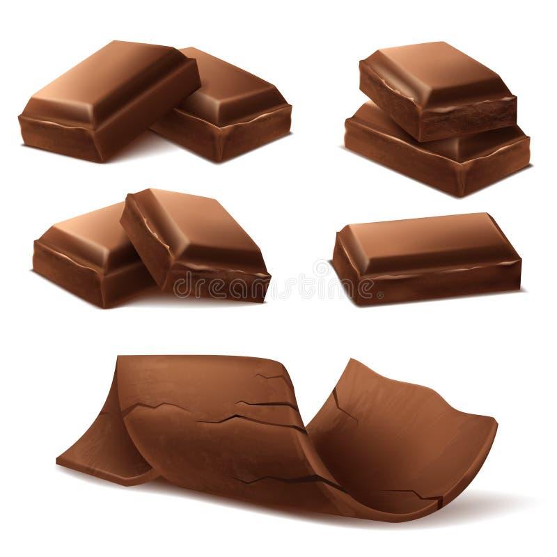 Dirigez les barres de chocolat 3d brunes réalistes, morceaux illustration stock