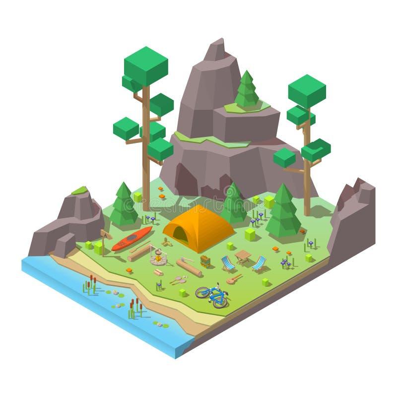 Dirigez les bas poly éléments 3d isométriques dans le camping illustration stock