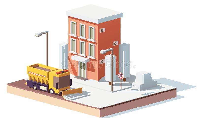 Dirigez les bas poly chasse-neige fonctionnant dans la ville illustration stock
