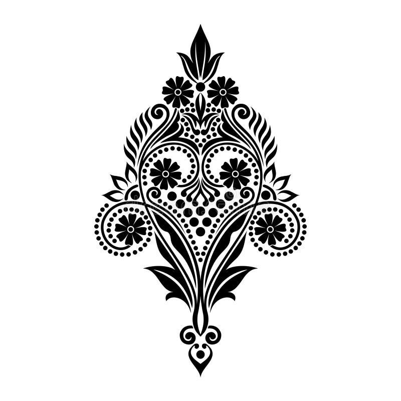 Dirigez les belles fleurs et les feuilles noires et blanches de vintage d'isolement illustration de vecteur