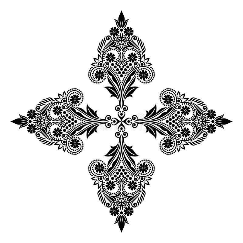Dirigez les belles fleurs et les feuilles noires et blanches monochromes de vintage d'isolement illustration libre de droits