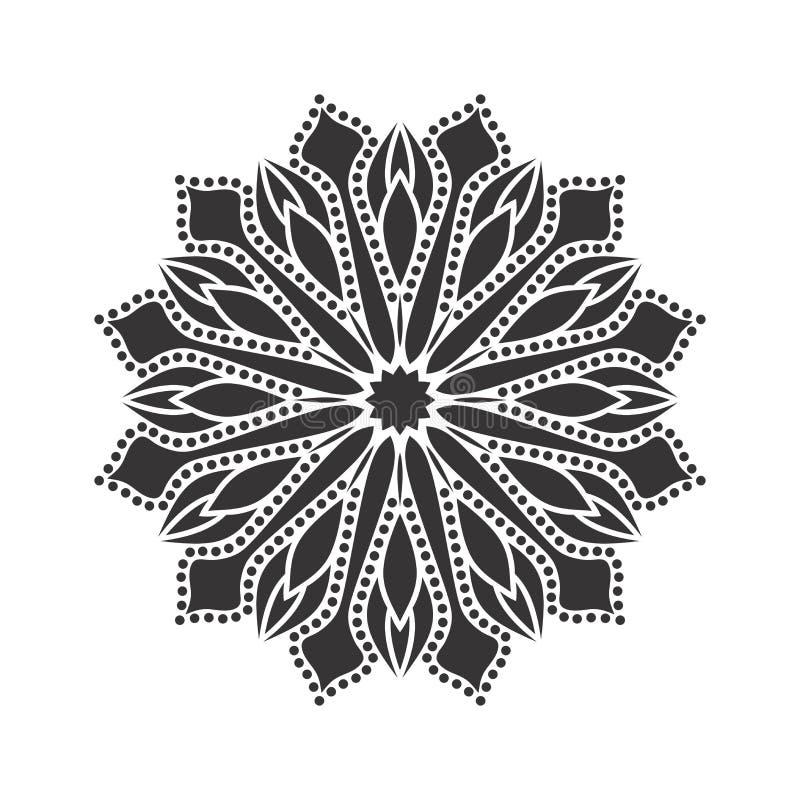 Dirigez les belles fleurs et les feuilles noires et blanches monochromes de vintage d'isolement illustration de vecteur