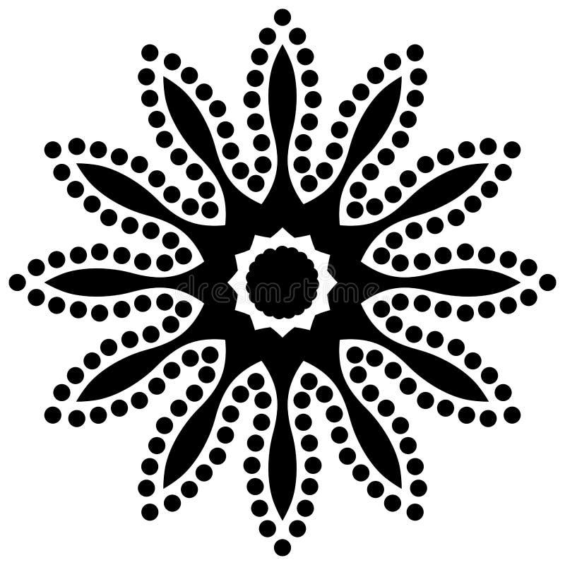 Dirigez les belles fleurs et les feuilles noires et blanches monochromes de vintage d'isolement illustration stock