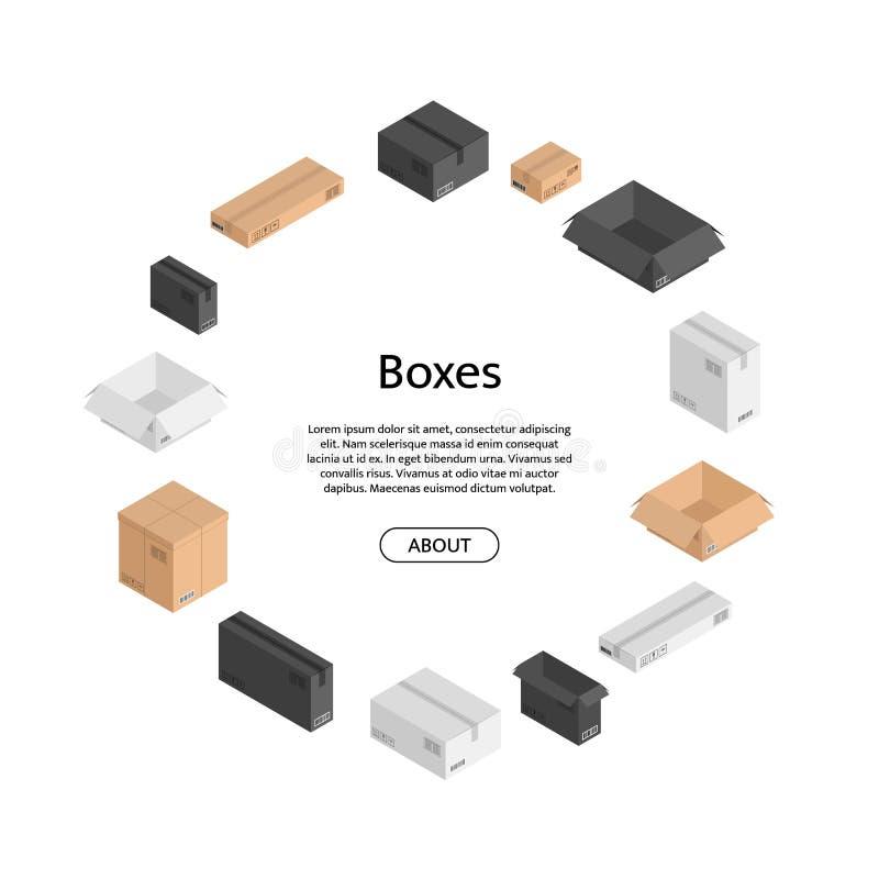 Dirigez les boîtes isométriques de couleur dfferent dans la forme de cercle avec l'endroit pour le texte au centre Expédition ouv photographie stock libre de droits
