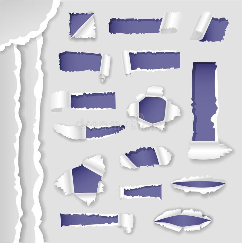 Dirigez les bords déchirés en lambeaux lacérés par papier trou et la collection sur papier réaliste d'illustration de vecteur du  illustration stock