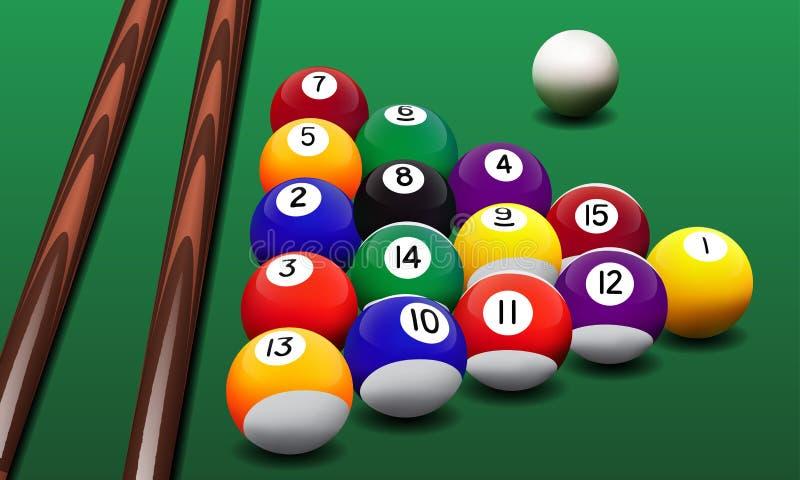 Dirigez les boules et les queues de billard réalistes sur la table illustration libre de droits