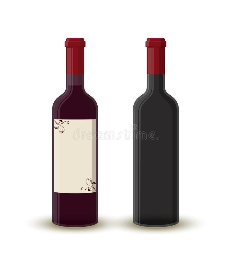 Dirigez les bouteilles de vin de bande dessinée, verre transparent vide illustration stock