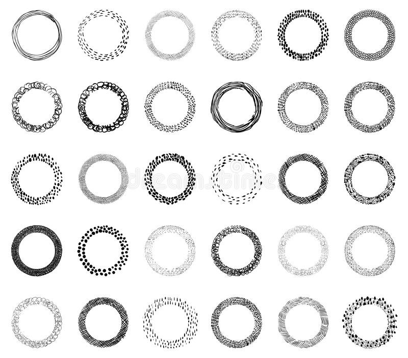 Dirigez les cadres de griffonnage avec, les lignes, les points et les courses de brosse pour le gra illustration stock