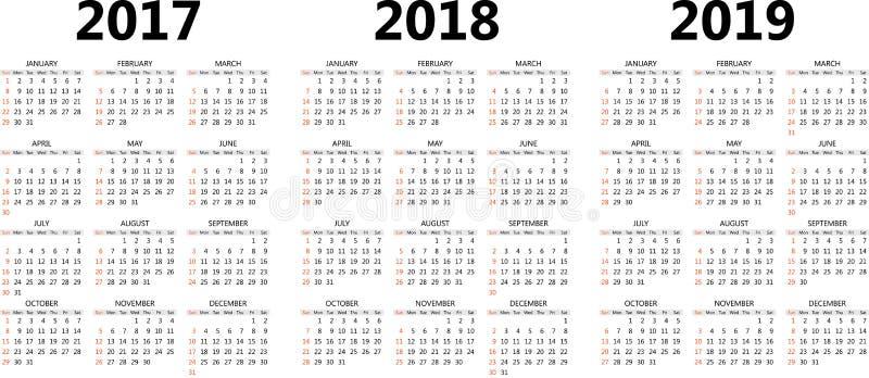 Dirigez les calibres de calendrier 2017, 2018, 2019 illustration de vecteur