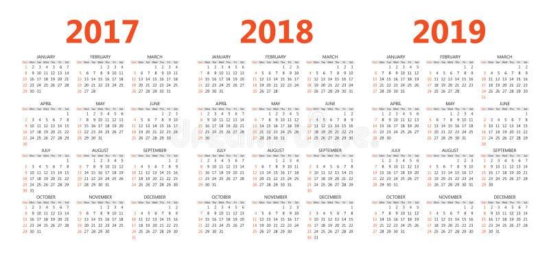 Dirigez les calibres de calendrier 2017, 2018, 2019 illustration libre de droits