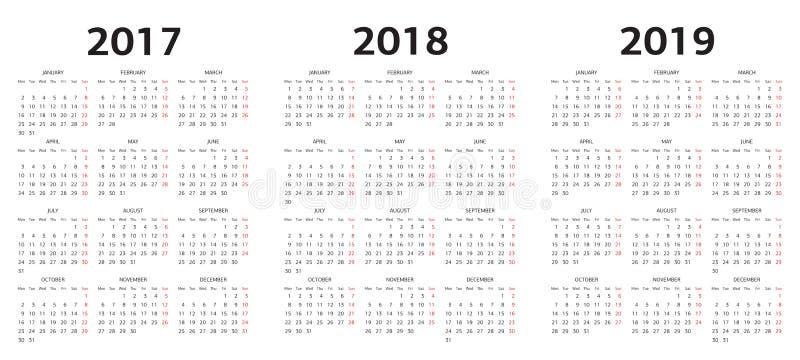 Dirigez les calibres de calendrier 2017, 2018, 2019 illustration stock