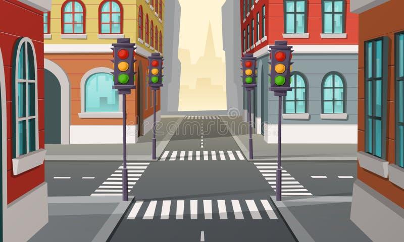 Dirigez les carrefours de ville avec des feux de signalisation, intersection illustration de vecteur