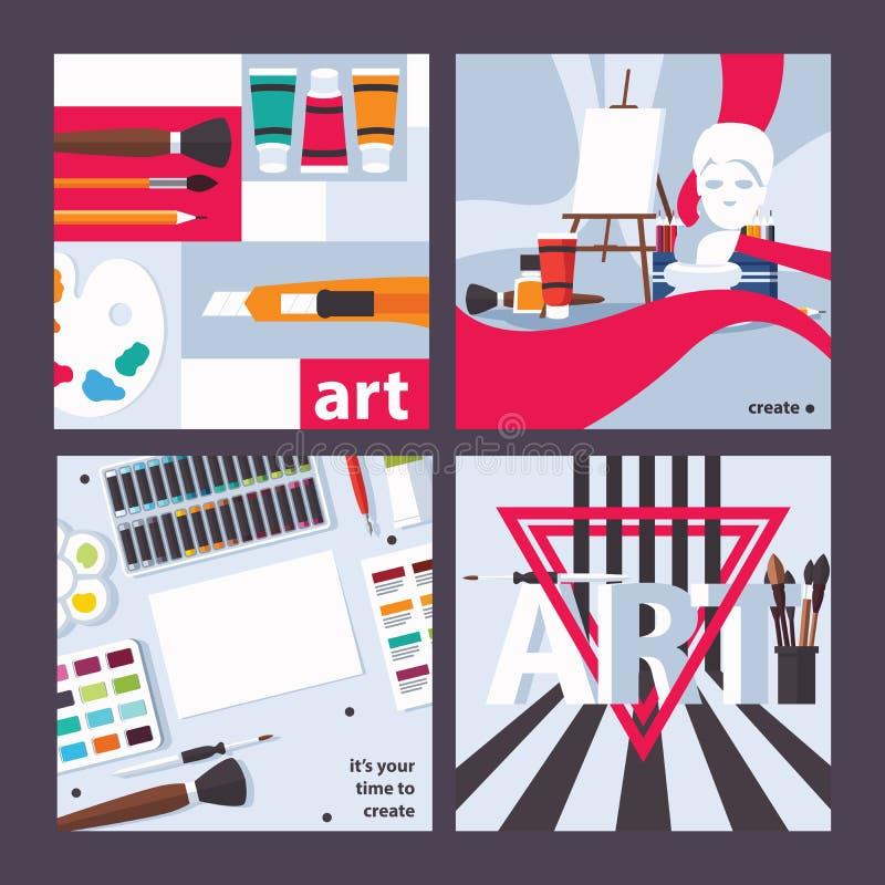 Dirigez les cartes carrées de concept au sujet du dessin, de l'art et de la peinture La conception lumineuse pour l'invitation, l illustration stock