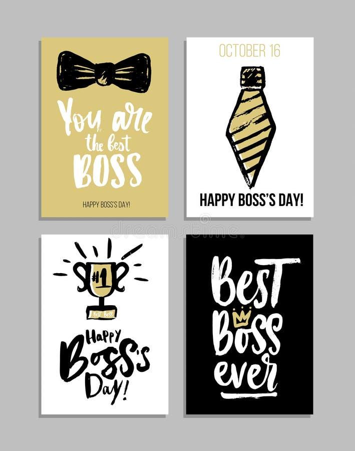 Dirigez les cartes en liasse de jour du ` s avec la calligraphie moderne Le cadeau étiquette avec de l'or, noir, couleurs blanche illustration libre de droits