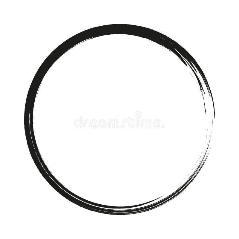 Dirigez les cercles de courses de brosse de la peinture sur le fond blanc Cercle tir? par la main de pinceau d'encre Logo, ?l?men illustration de vecteur
