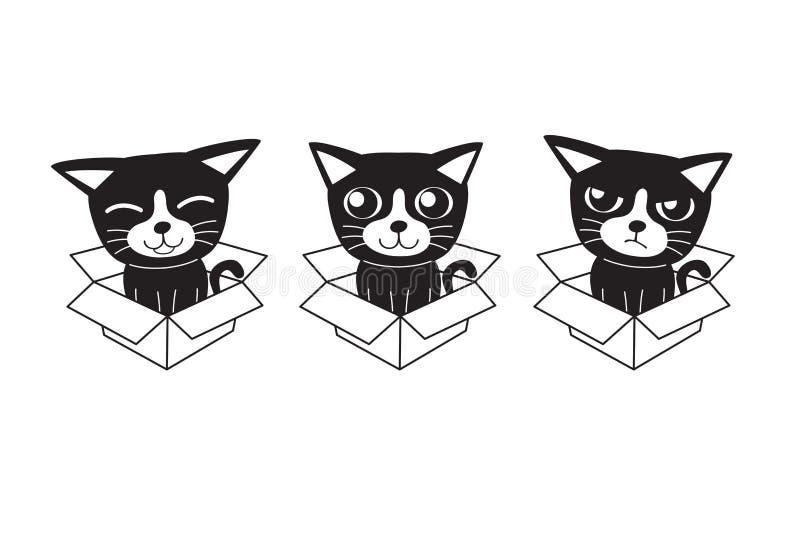 Dirigez les chats de personnage de dessin animé et les bulles mignons de la parole avec l'ensemble de bande dessinée d'accessorie illustration libre de droits