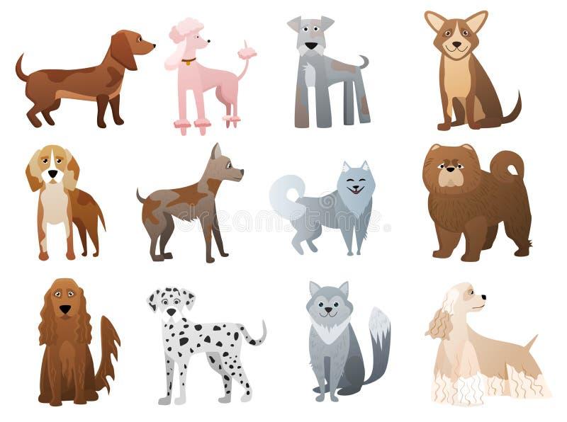 Dirigez les chiens drôles et mignons de bande dessinée et les caractères d'animal familier de chiot réglés illustration de vecteur