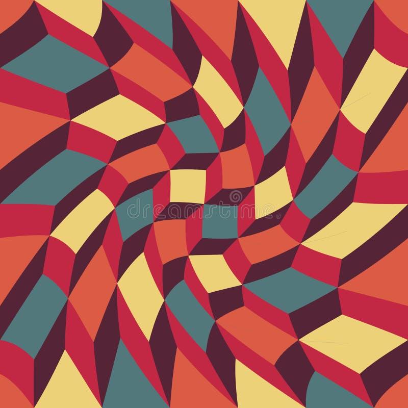 Dirigez les cubes trippy en modèle coloré sans couture moderne de la géométrie, abrégé sur couleur illustration de vecteur