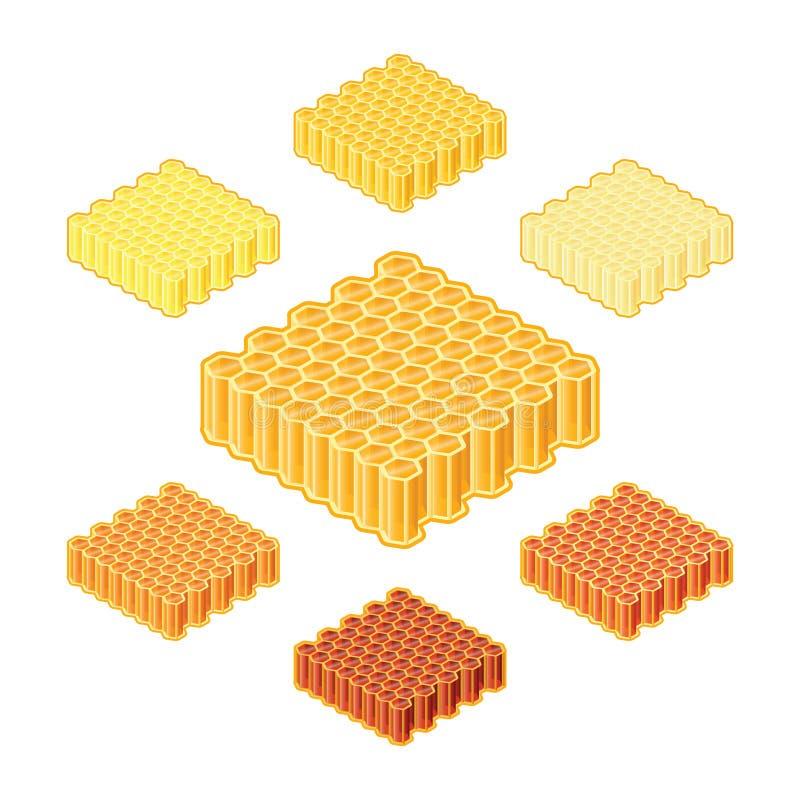 Dirigez les différentes nuances ou les sortes de miel dans des nids d'abeilles dans le style isométrique illustration de vecteur