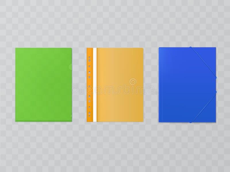 Dirigez les dossiers en plastique - fournitures de bureau, les dossiers a4 illustration de vecteur