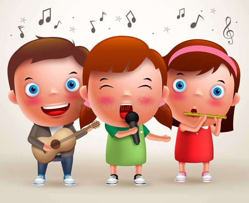 Dirigez les enfants de caractère chantant et jouant la guitare et la cannelure tout en se tenant illustration de vecteur