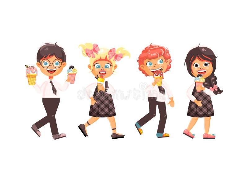 Dirigez les enfants de caractères d'isolement par bande dessinée d'illustration, élèves, écoliers, écolières mangent la crème gla illustration stock