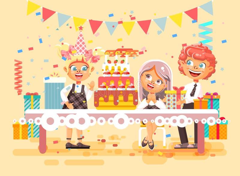 Dirigez les enfants de personnages de dessin animé d'illustration, amis, garçon et deux filles célèbrent le joyeux anniversaire,  illustration de vecteur