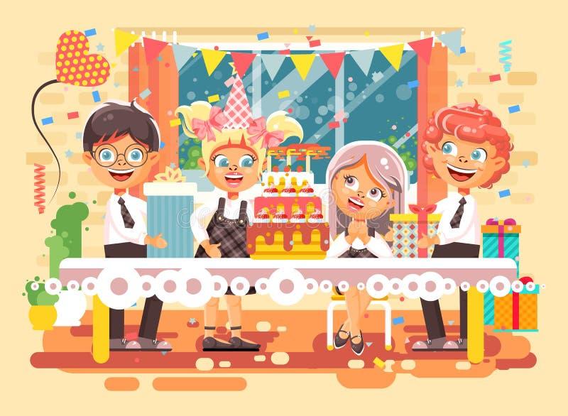 Dirigez les enfants de personnages de dessin animé d'illustration, amis, garçons, filles célèbrent le joyeux anniversaire, félici illustration libre de droits