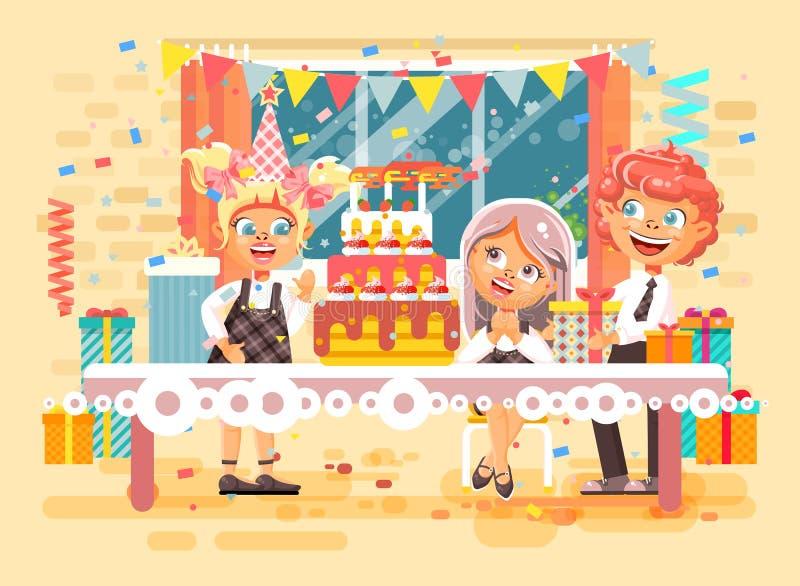 Dirigez les enfants de personnages de dessin animé d'illustration, amis, garçons, filles célèbrent le joyeux anniversaire, félici illustration stock