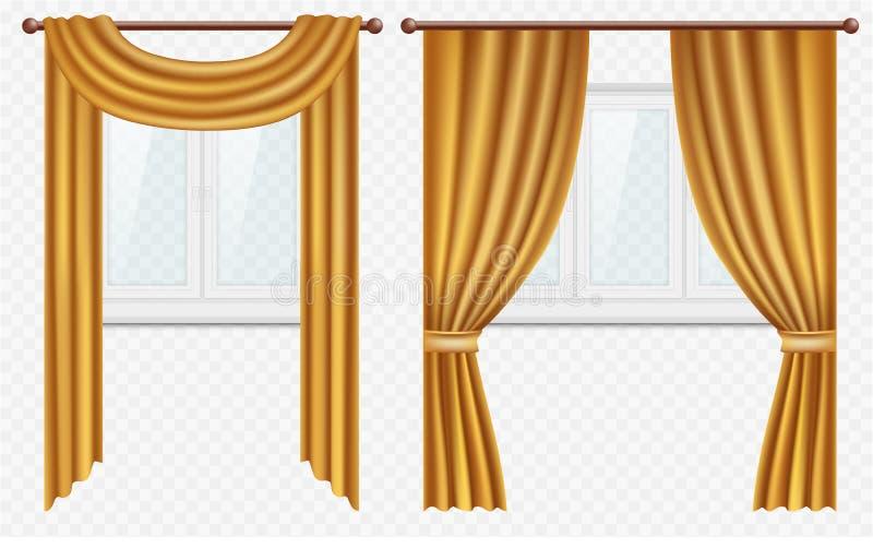 Dirigez les fenêtres réalistes avec des rideaux et drapez l'ensemble illustration de vecteur