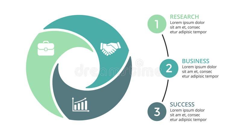 Dirigez les flèches de cercle infographic, diagramme de cycle, graphique, diagramme de présentation Concept d'affaires avec 3 opt illustration stock