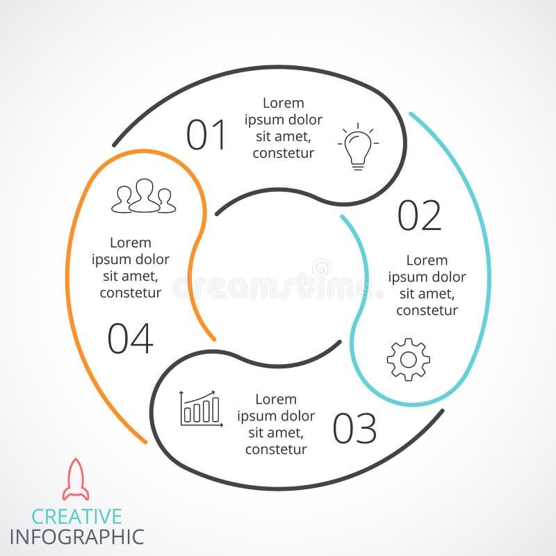 Dirigez les flèches de cercle infographic, diagramme de cycle, graphique linéaire, diagramme de présentation Concept d'affaires a illustration de vecteur