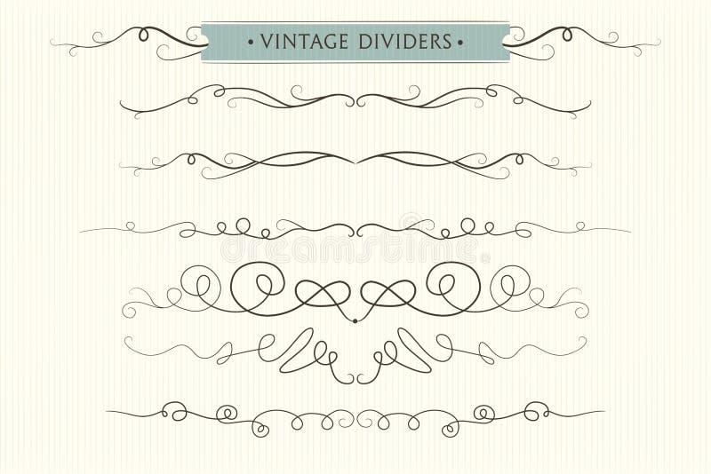 Dirigez les flourishes tirés par la main, les diviseurs, bel EL graphique de conception illustration de vecteur