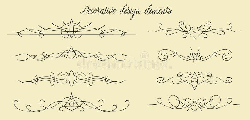Dirigez les flourishes tirés par la main, les diviseurs, bel EL graphique de conception illustration libre de droits