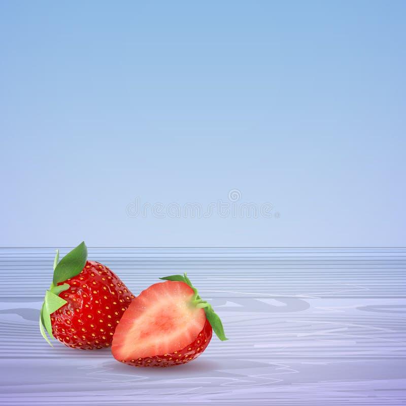 Dirigez les fraises à moitié et entier sur une table en bois bleue Illustration courante illustration de vecteur