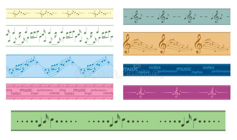 Dirigez les frontières sans couture avec des notes de musique - cadres colorés illustration de vecteur
