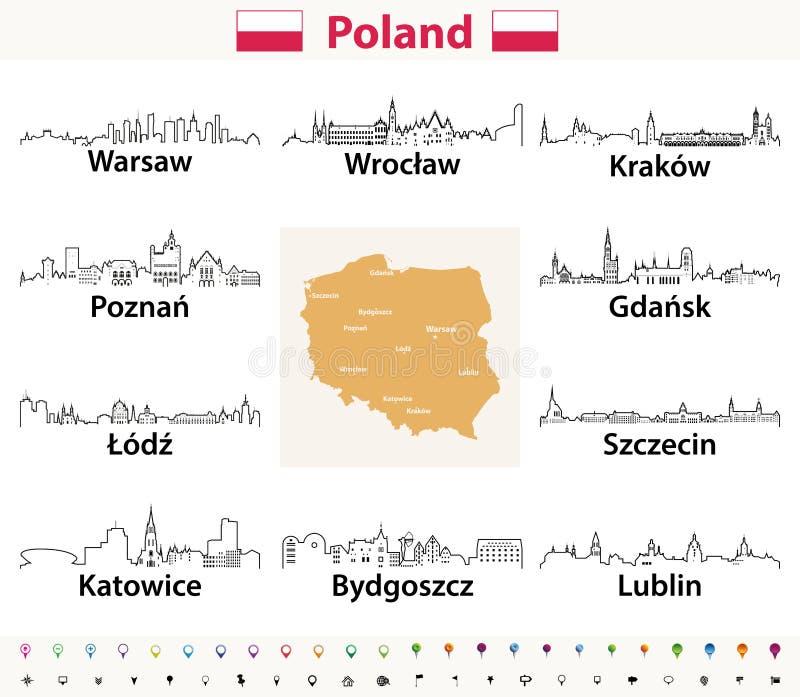 Dirigez les icônes d'ensemble des horizons de villes de la Pologne avec la carte et le drapeau polonais illustration de vecteur