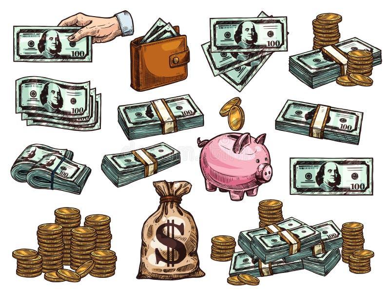 Dirigez les icônes de croquis des dollars et des pièces de monnaie d'argent illustration de vecteur