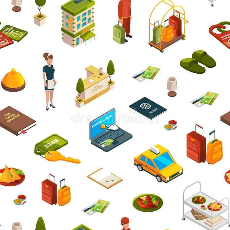 Dirigez les icônes isométriques modèle d'hôtel ou l'illustration de fond illustration libre de droits